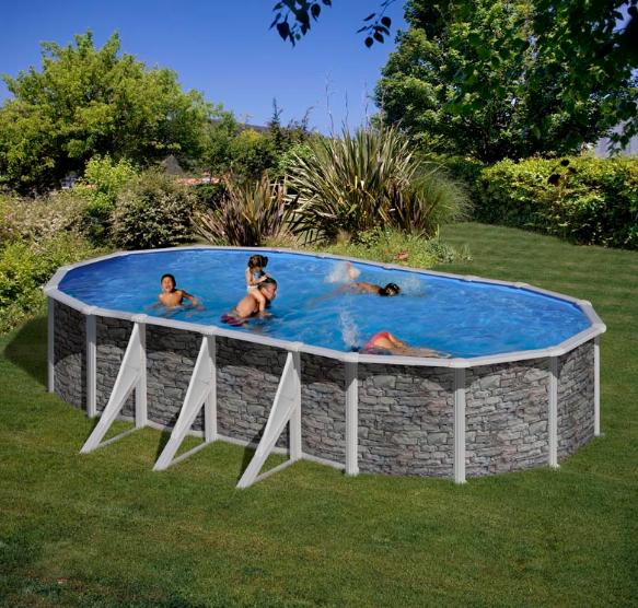 Ovalni montažni bazen GRE Stone - set (dubina 1.2m)