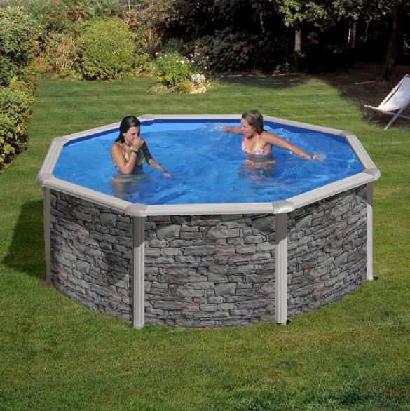 Okrugli montažni bazen GRE Stone - set (dubina 1,2m)