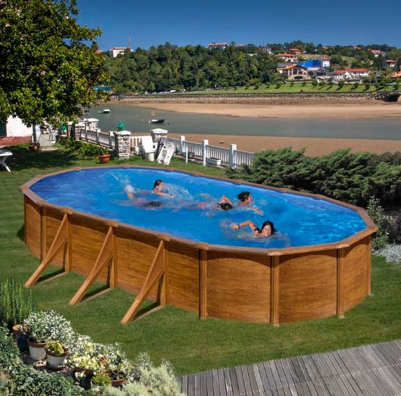 Ovalni montažni bazen GRE Wood - set (dubina 1.2m)