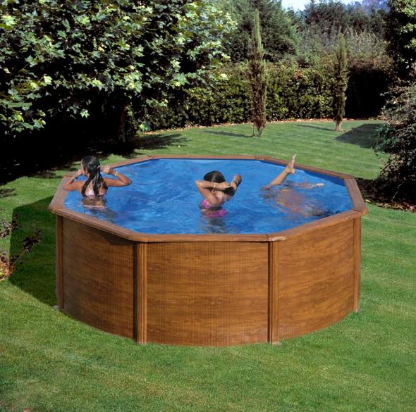 Okrugli montažni bazen GRE Wood - set (dubina 1,2m)